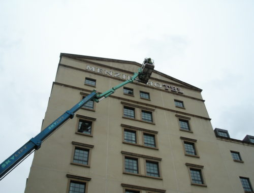 Hight level signs being installed