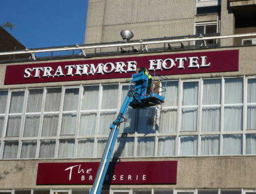High Level signs being fitted