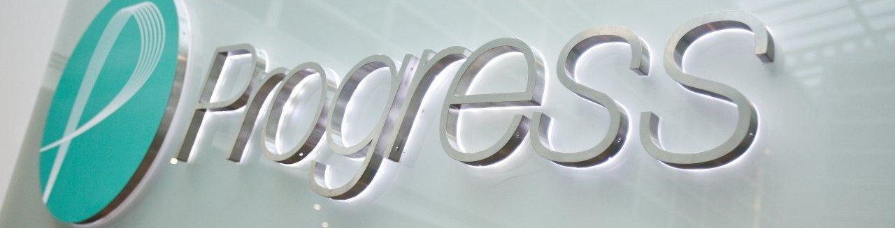 Built up stainless letters on glass